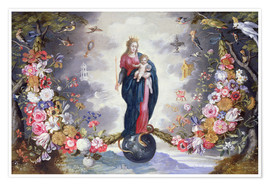Poster Premium The Virgin and Child surrounded by a garland