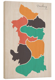 Stampa su legno  Duisburg city map modern abstract with round shapes - Ingo Menhard