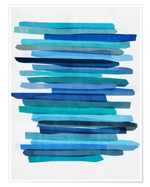 Poster Premium  Blue Stripes 1 - Mareike Böhmer Graphics