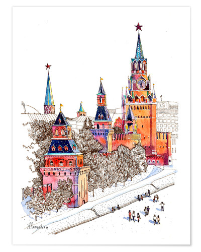 Poster Kremlin, Red Square, Moscow