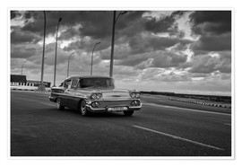 Poster  Classic Cuban Car in black and white - Alex Saberi