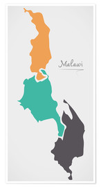 Poster Premium Malawi map modern abstract with round shapes