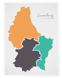 Poster Premium Luxembourg map modern abstract with round shapes
