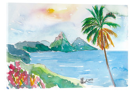 Stampa su vetro acrilico  St Lucia Caribbean Dreams With Sunset and Pitons Peaks - M. Bleichner