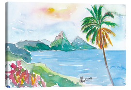 Stampa su tela  St Lucia Caribbean Dreams With Sunset and Pitons Peaks - M. Bleichner
