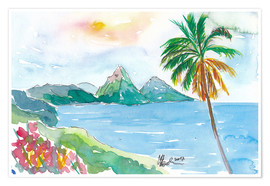 Poster Premium  St Lucia Caribbean Dreams With Sunset and Pitons Peaks - M. Bleichner