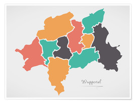 Poster Wuppertal city map modern abstract with round shapes
