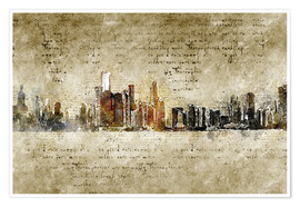 Poster Premium  Chicago skyline in modern abstract vintage look - Michael artefacti
