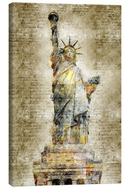 Stampa su tela  Statue of liberty New York in modern abstract vintage look - Michael artefacti
