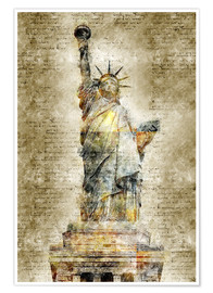 Poster Premium  Statue of liberty New York in modern abstract vintage look - Michael artefacti