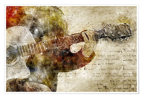 Poster Premium Guitar musician in abstract modern vintage look
