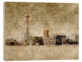 Stampa su legno  Seattle skyline in modern abstract vintage look - Michael artefacti