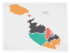 Poster Premium Malta map modern abstract with round shapes