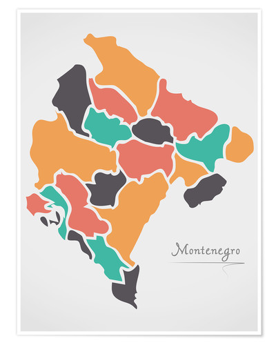 Poster Premium Montenegro map modern abstract with round shapes