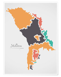 Poster Premium Moldova map modern abstract with round shapes