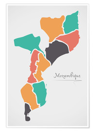 Poster Premium Mozambique map modern abstract with round shapes