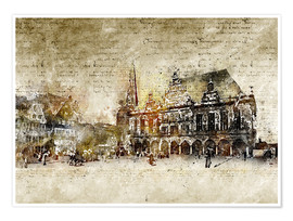 Poster Premium  Bremen market marketplace modern and abstract - Michael artefacti