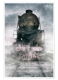 Poster Premium Steam train at the snowing day