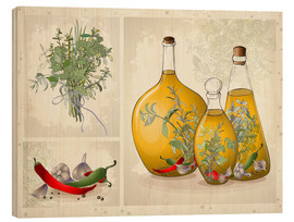 Stampa su legno  Kitchen herbs collage