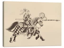 Stampa su tela  Knight with armor and horse
