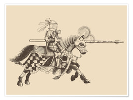 Poster Premium  Knight with armor and horse