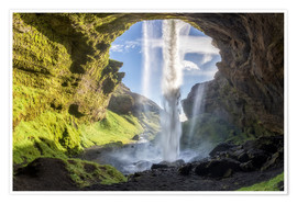 Poster Premium Kvernufoss waterfall in south of Iceland
