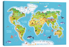 Stampa su tela  Mappa del mondo con animali (inglese) - Kidz Collection