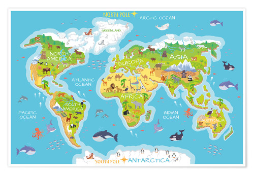 Cartina Mondo Immagini.Kidz Collection Mappa Del Mondo Con Animali Inglese Posterlounge It