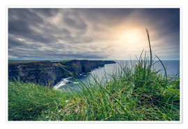 Poster Premium View over the cliffs of Moher, Ireland