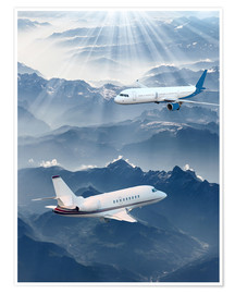 Poster Premium Two aircrafts over the mountains