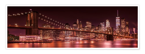 Poster Premium Brooklyn Bridge and Manhattan Skyline