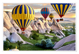 Poster Premium  Hot air balloons over Goreme tuff rock formations