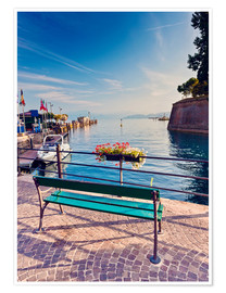 Poster Premium  Bench on the coast of Garda in Peschiera