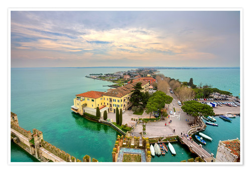 Poster Premium Scaglieri castle of Sirmione on Lake Garda