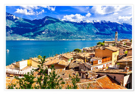 Poster Premium  Beautiful Limone village, panoramic view, Lago di Garda, Italy
