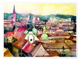 Poster Premium Graz, view to the cathedral