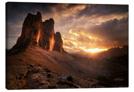 Stampa su tela  Three Peaks Dolomites Sunset - Christian Möhrle