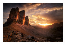 Poster Premium  Three Peaks Dolomites Sunset - Christian Möhrle