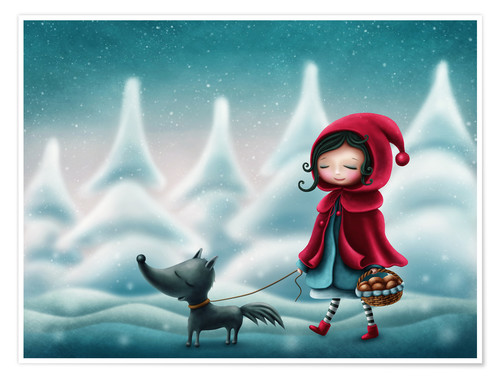 Poster Premium Little red riding hood and the wolf