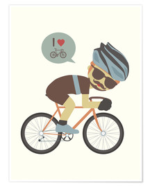 Poster Premium I love cycling