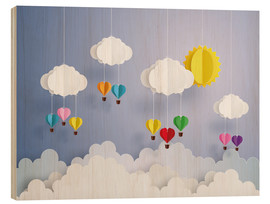 Stampa su legno  Balloon ride in the clouds - Kidz Collection