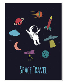 Poster Premium Space Travel Kid