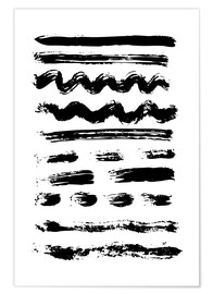 Poster Premium Brush strokes black and white
