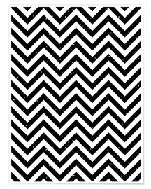 Poster Premium Herringbone pattern black and white