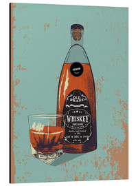 Stampa su alluminio  Whiskey bottle and glass