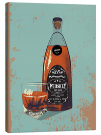 Stampa su tela  Whiskey bottle and glass