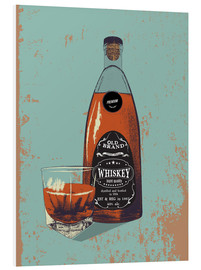 Stampa su schiuma dura  Whiskey bottle and glass