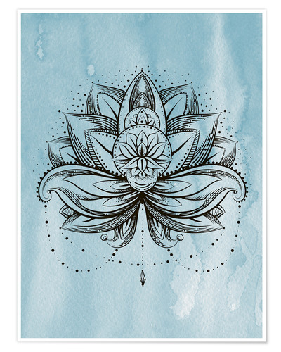 Poster Premium Lotus Zen watercolor