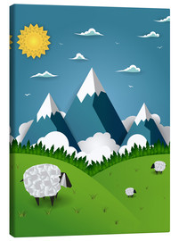 Stampa su tela  Paper landscape with sheep - Kidz Collection