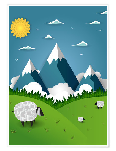Poster Premium Paper landscape with sheep